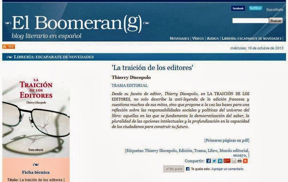 La traición de los editores en El boomerang