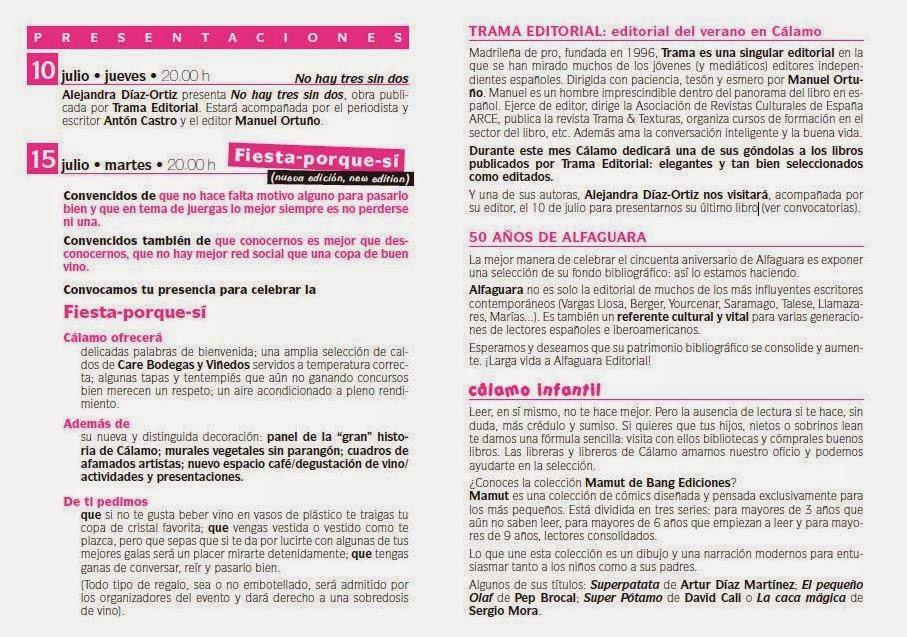 Trama, editorial del verano en la Librería Cálamo de Zaragoza