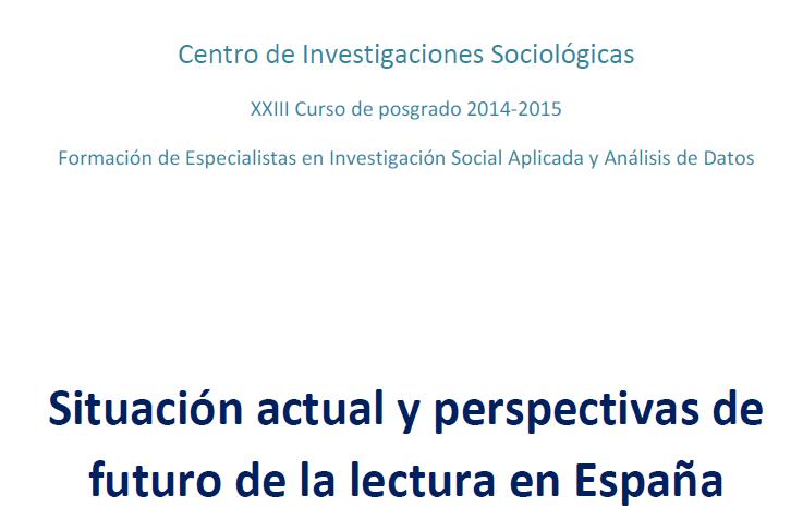 Situación actual y perspectivas de futuro de la lectura en España. Javier Urgel Parreño