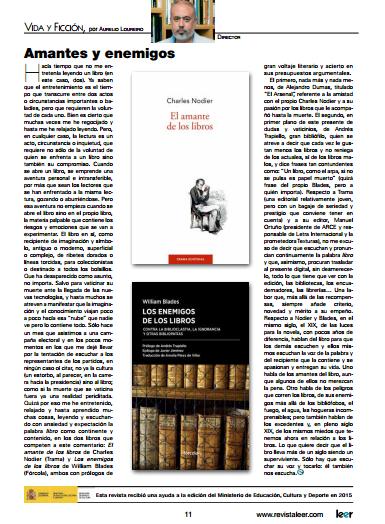 El amante de los libros en Revista Leer gracias a Aurelio Loureiro