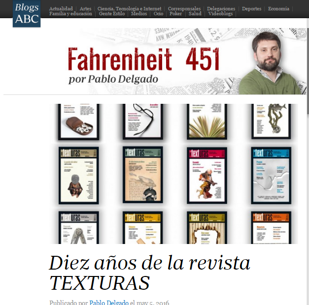 Diez años de la Revista Texturas. Pablo Delgado en Fahrenheit 451