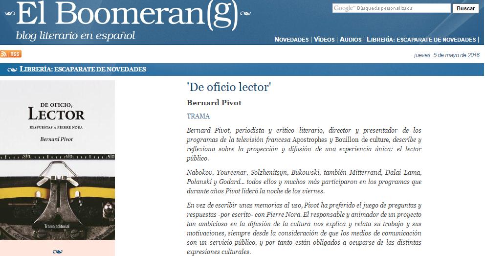 De oficio, lector en El Boomeran(g)
