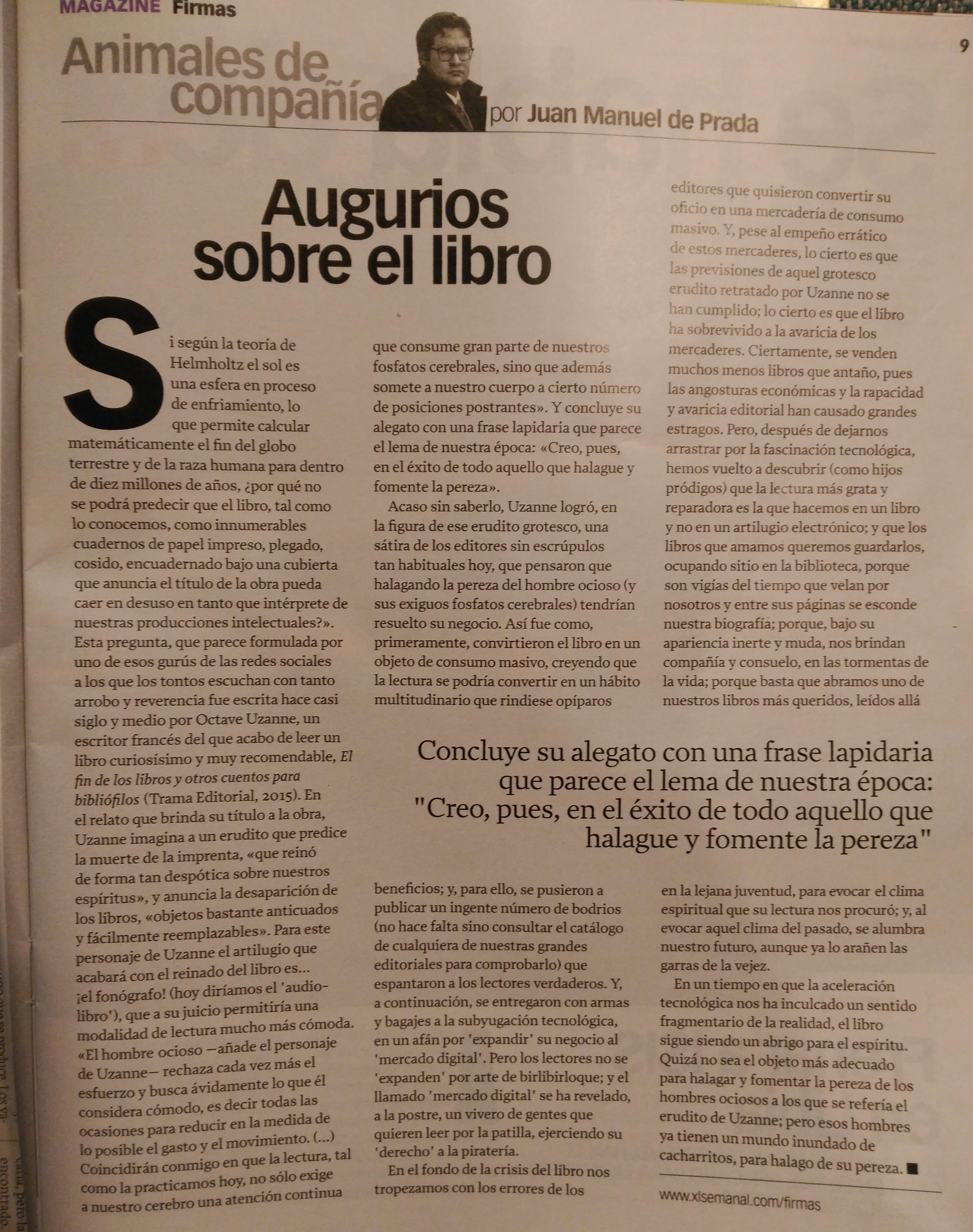 Juan Manuel de Prada. Augurios sobre el libro en XLSemanal. En torno a El fin de los libros